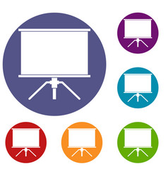 Blank projection screen icons set vector