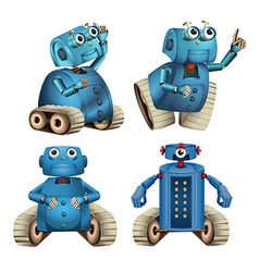 Blue robots doing different things vector image vector image