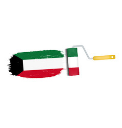 brush stroke with kuwait national flag isolated on vector image vector image