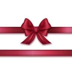 Burgundy ribbon and bow vector image