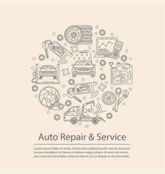 Card with symbols of car service vector