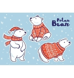 Christmas sticker set with polar bears vector image vector image