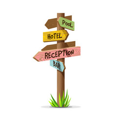 Colored wooden arrow resort signboard vector