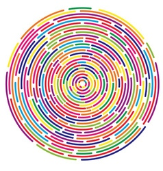 Colorful dashed random concentric circles abstract vector image vector image