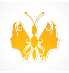 Creative woman face make a butterfly vector