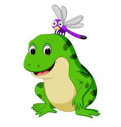 Cute frog and butterfly vector