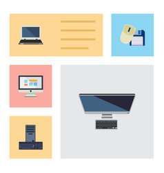 Flat icon laptop set of processor notebook pc vector