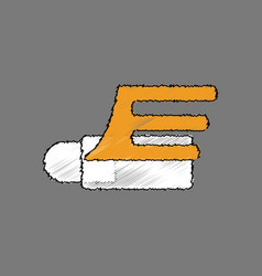 Flat shading style icon flying cruise missile vector