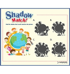 Game template for shadow matching children vector