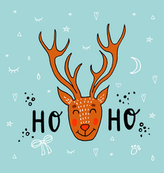 hand drawn of deer funny vector image