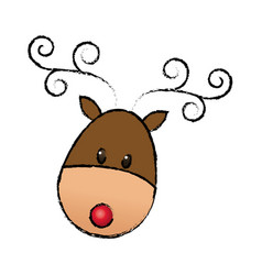 happy cartoon christmas reindeer animal cartoon vector image