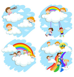 happy children playing on rainbow vector image