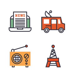 Hot news icons flat style colorful set websites vector