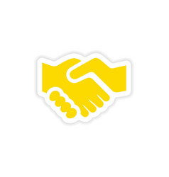 Icon sticker realistic design on paper handshake vector