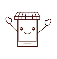 kawaii smartphone store online digital shop vector image