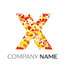 Letter x logo with orange yellow red particles vector