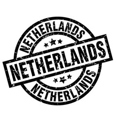 Netherlands black round grunge stamp vector