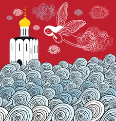Orthodox church and the river of life vector image