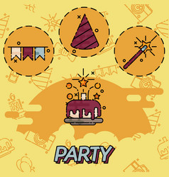 party flat concept icons vector image vector image
