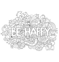 printable coloring page for adults with cartoon vector image