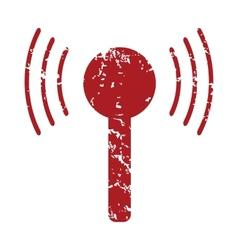 Red grunge tv tower logo vector