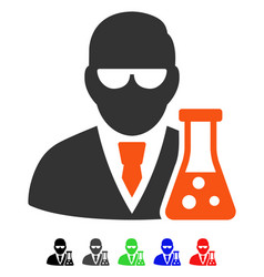 Scientist with flask flat icon vector