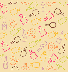 Seamless pattern with color wine bottles vector