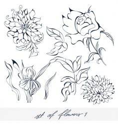 set of flowers 1 vector image vector image