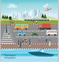 set of transportation and city traffic vector image vector image
