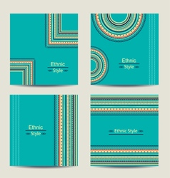 Set of turquoise cards with ethnic design vector image