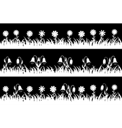 Set seamless silhouette grass and flowers vector image
