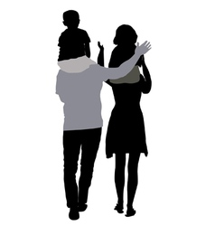Silhouettes of mom and dad with children on vector