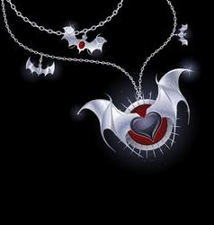 silver heart of a vampire vector image vector image