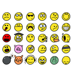 Smiley hand drawings icon set in yellow color vector