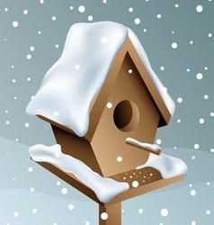 Snowy wood birdhouse vector