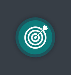 target with arrow goal achievement round flat icon vector image
