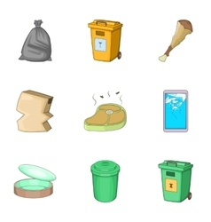 Trash for recycling icons set cartoon style vector image