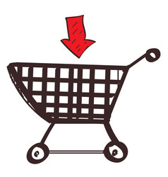 trolley shopping colored button with a black vector image