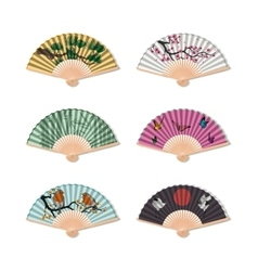 Set fan on a white background  accessory geisha vector