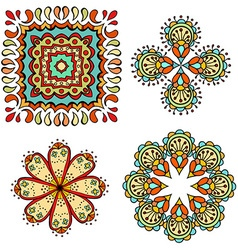 Abstract floral ornamental icon set vector