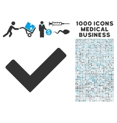 Ok icon with 1000 medical business pictograms vector