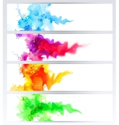 Set of four banners abstract headers with colored vector
