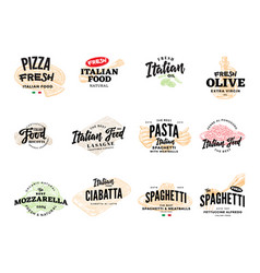 Sketch italian food logotypes collection vector