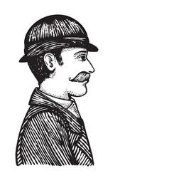 Retro man in coat and hat vector