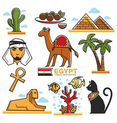 Egypt traditional symbols map for travellers vector