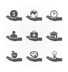 Hand icons saving concept design vector