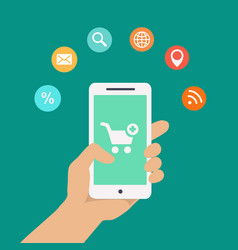 Smartphone apps infographics with a hand holding a vector image