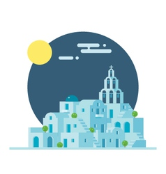Flat design of santorini greece village vector