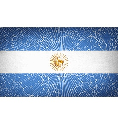 Flags of argentina with broken glass texture vector