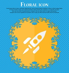 Rocket floral flat design on a blue abstract vector